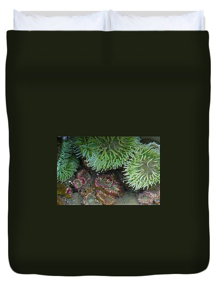 Green And Strawberry Anemonies Duvet Cover