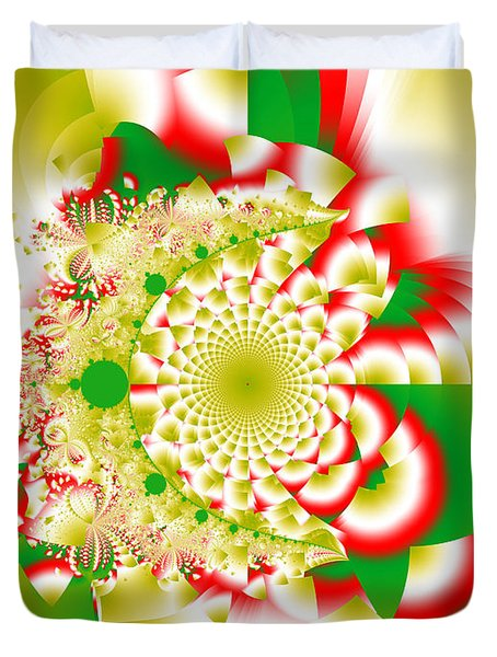 Green And Yellow Collide Duvet Cover