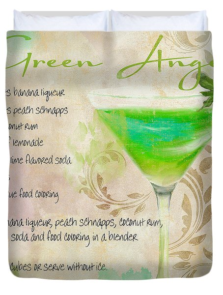 Green Angel Mixed Cocktail Recipe Sign Duvet Cover by Mindy Sommers