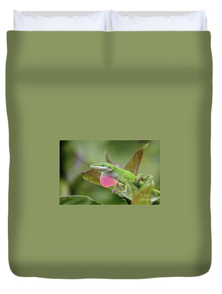 Green Anole Duvet Cover