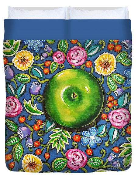 Green Apple Duvet Cover by Sandra Lett