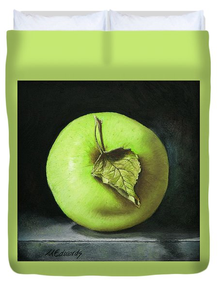 Green Apple With Leaf Duvet Cover