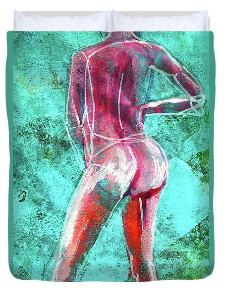 Duvet Cover featuring the painting Green Back Figure No. 4 by Nancy Merkle