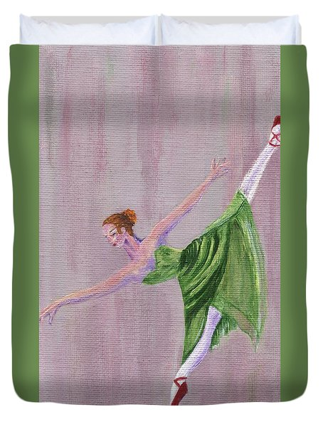 Duvet Cover featuring the painting Green Ballerina by Jamie Frier
