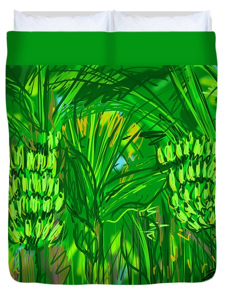 Duvet Cover featuring the digital art Green Bananas by Jean Pacheco Ravinski