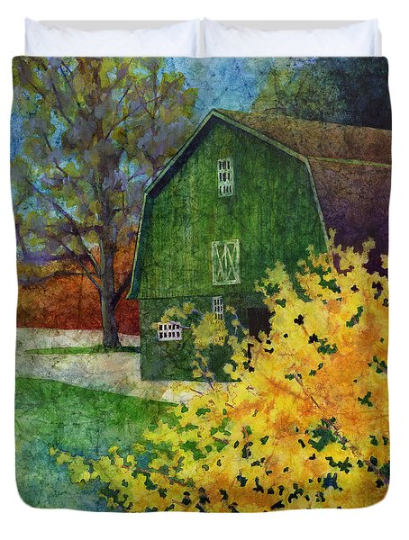 Green Barn Duvet Cover