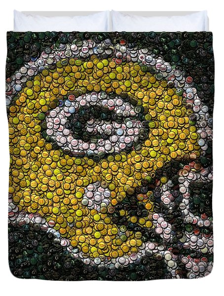 Green Bay Packers Bottle Cap Mosaic Duvet Cover by Paul Van Scott