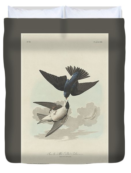 Green-blue Or White-bellied Swallow Duvet Cover by Anton Oreshkin