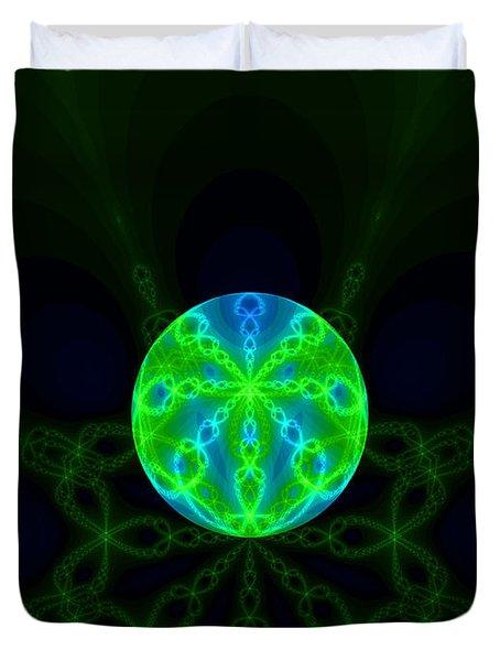 Green Blue World Fractal  Duvet Cover