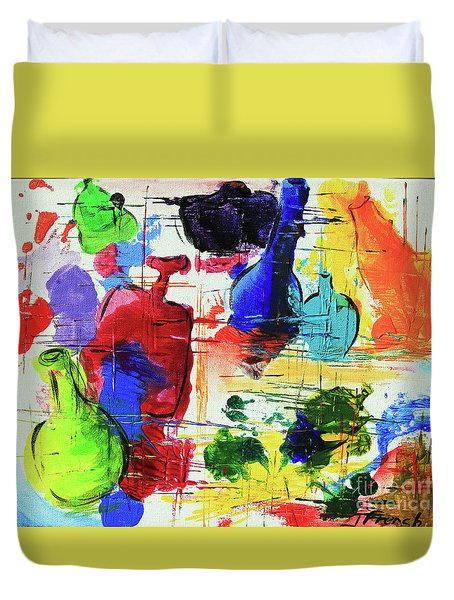 Duvet Cover featuring the painting Green Bottle, Blue Bottle by Jeanette French