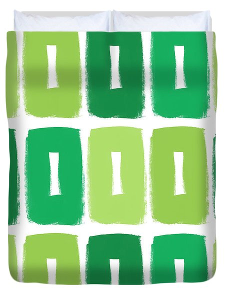 Green Boxes- Art By Linda Woods Duvet Cover by Linda Woods