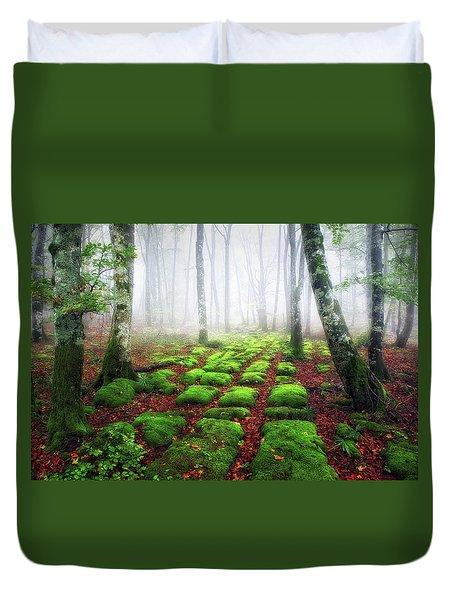 Green Brick Road Duvet Cover