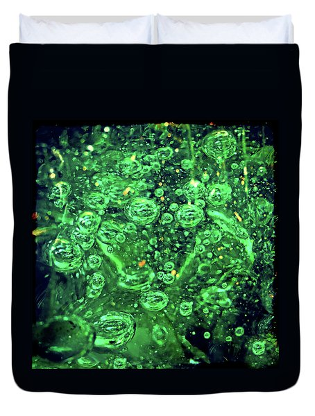 Green Bubbles Floating Duvet Cover