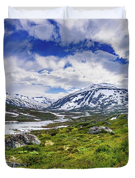 Duvet Cover featuring the photograph Green Carpet Under The Cotton Sky by Dmytro Korol