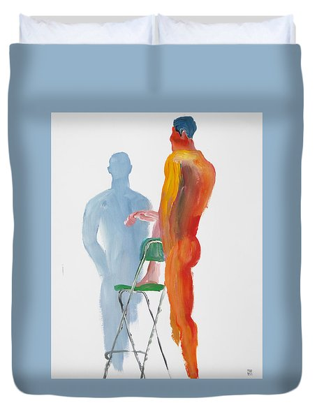 Duvet Cover featuring the painting Green Chair Blue Shadow by Shungaboy X