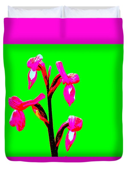 Green Champagne Orchid Duvet Cover by Richard Patmore