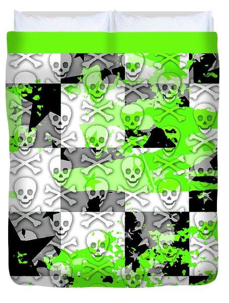 Green Checker Skull Splatter Duvet Cover by Roseanne Jones