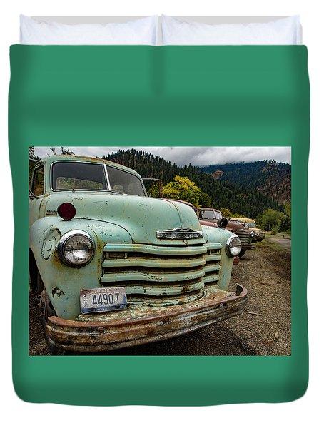 Green Chevy Duvet Cover