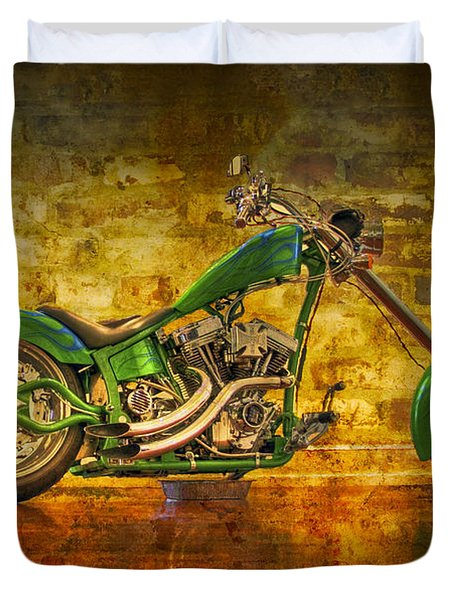 Green Chopper Duvet Cover by Debra and Dave Vanderlaan