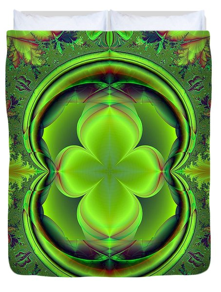Green Clover Duvet Cover