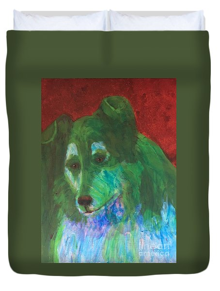 Duvet Cover featuring the painting Green Collie by Donald J Ryker III