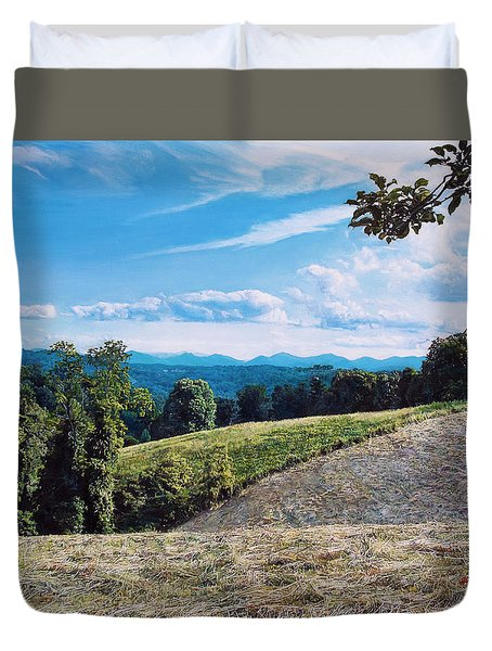 Duvet Cover featuring the painting Green Country by Joshua Martin