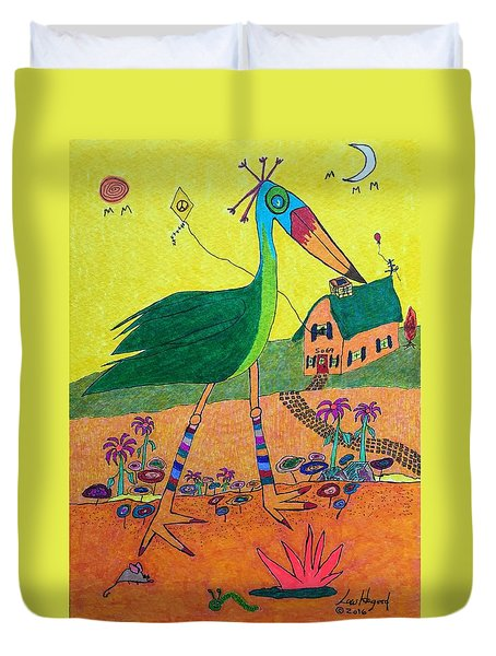 Green Crane With Leggings And Painted Toes Duvet Cover
