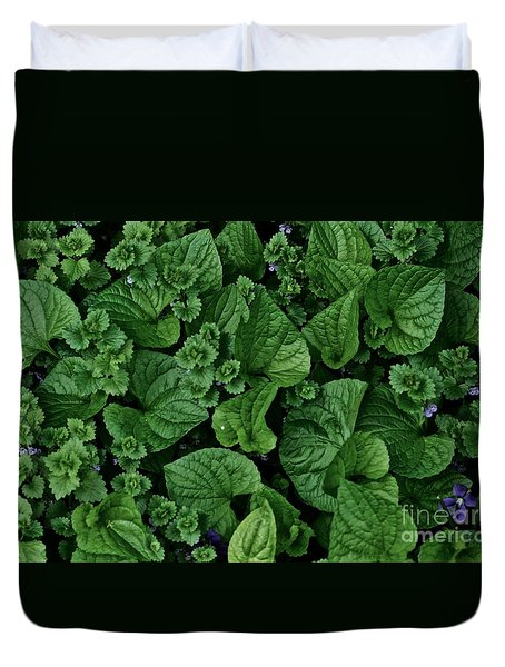 Green Crowd Duvet Cover by Tim Good