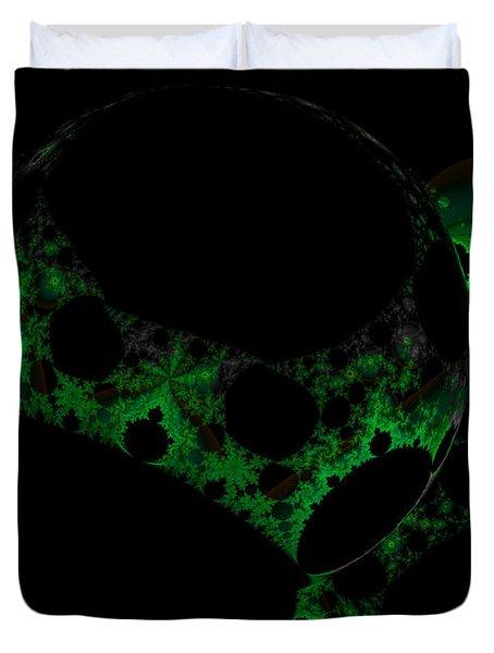 Green Darkness Galaxy Fractal  Duvet Cover