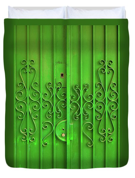 Duvet Cover featuring the photograph Green Door by Carlos Caetano