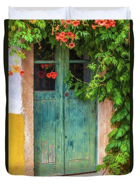 Green Door With Vine Duvet Cover