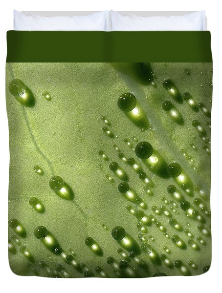 Duvet Cover featuring the photograph Green Drops by Raffaella Lunelli