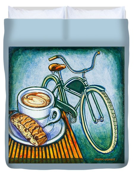 Green Electra Delivery Bicycle Coffee And Biscotti Duvet Cover