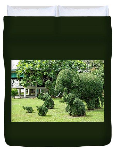 Green Elephants Duvet Cover