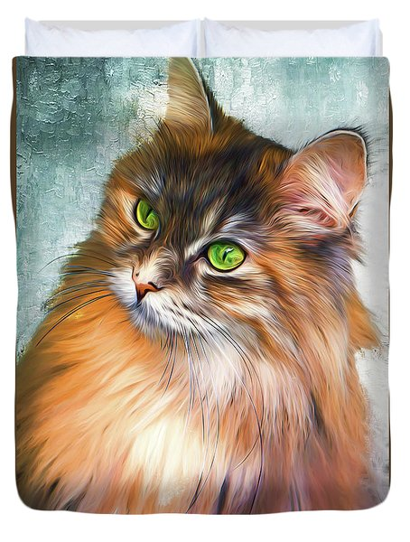 Green-eyed Maine Coon Cat - Remastered Duvet Cover