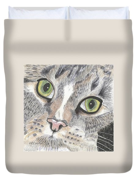 Duvet Cover featuring the drawing Green Eyes by Arlene Crafton