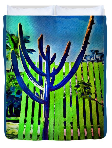 Duvet Cover featuring the painting Green Fence by Joan Reese