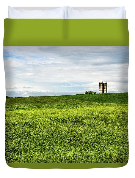 Green Field And Silos Duvet Cover