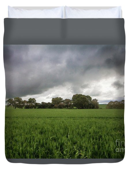 Green Fields 5 Duvet Cover by Douglas Barnard