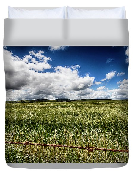 Green Fields Duvet Cover by Douglas Barnard