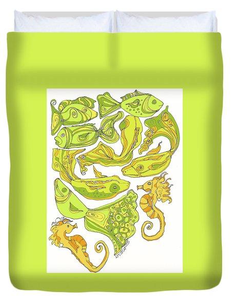 Green Fish Duvet Cover by Linda Kay Thomas