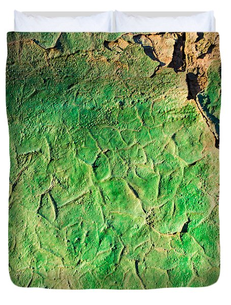 Green Flaking Brickwork Duvet Cover