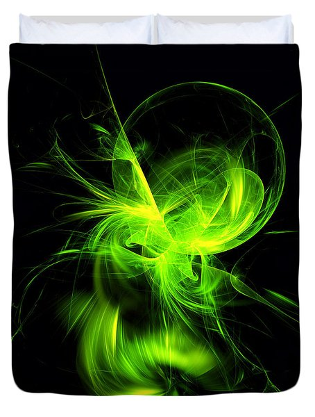 Green Flame Fractal Duvet Cover