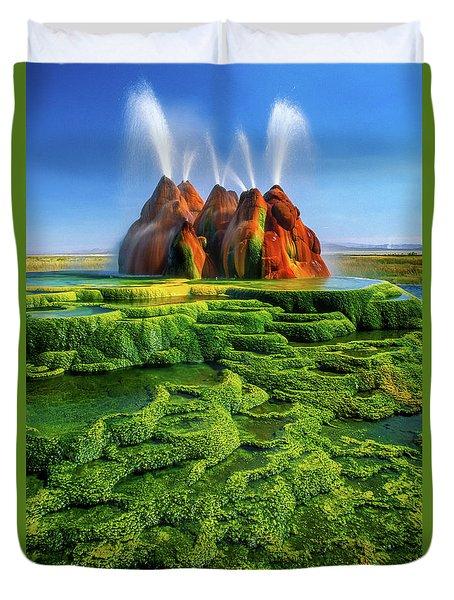 Green Fly Geyser Duvet Cover by Inge Johnsson
