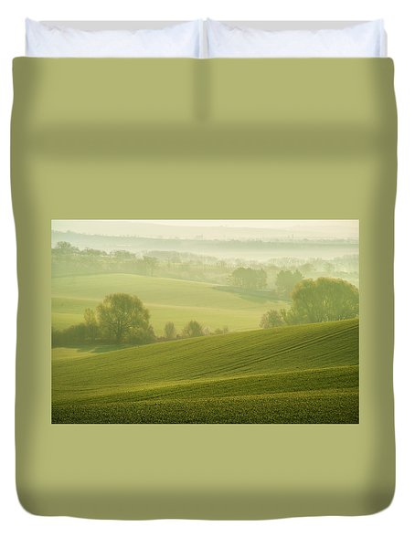 Duvet Cover featuring the photograph Green Foggy Waves by Jenny Rainbow