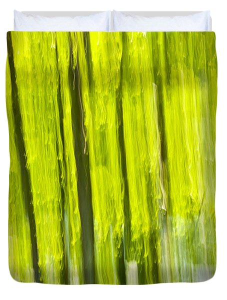 Green Forest Abstract Duvet Cover