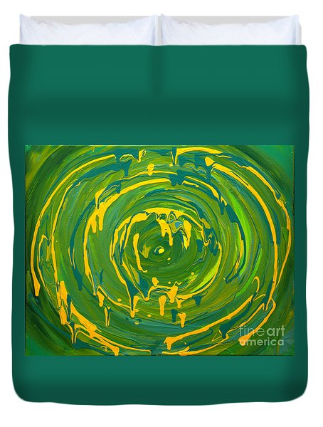 Green Forest Swirl Duvet Cover