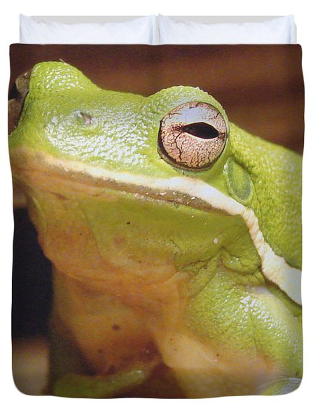 Green Frog Duvet Cover by J R Seymour