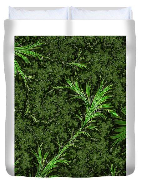 Green Fronds Duvet Cover by Rajiv Chopra