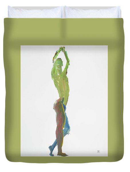 Duvet Cover featuring the painting Green Gesture 1 Profile by Shungaboy X